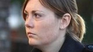 Leanne Harris outside Hove Crown Court