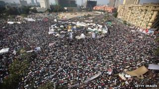 Protesters in Tahrir Square, Cairo, on 25 November 2011