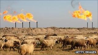 Natural gas flares in Iraq