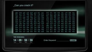 Screen shot of the code breaking challenge