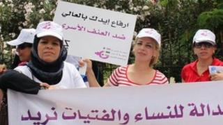 Demonstration in Beirut to urge the passage of family violence law, 2011