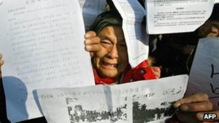 File image of a petitioner in Beijing