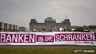 German protesters call for reining in the banks, 26 Oct 11