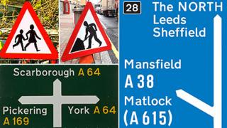 Composite of UK road signs