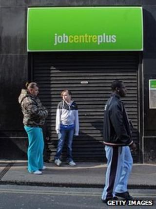 People outside a job centre