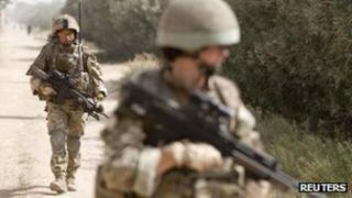British Army soldiers of the 2nd Battalion, The Royal Gurkha Rifles on patrol in Afghanistan