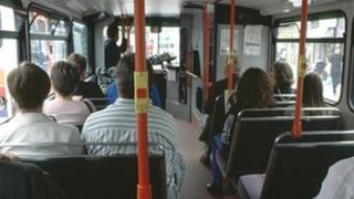 Bus passengers in Cambridge