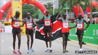 Kenya's men's team win gold at the IAAF World Half Marathon Championships in 2010 in Nanning, China.