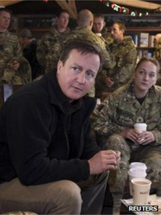 David Cameron with UK troops in Afghanistan