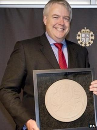 Carwyn Jones with the new Welsh seal