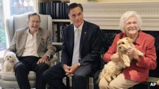 Mitt Romney meets with former president George H W Bush on 1 December 2011