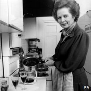 Margaret Thatcher in the kitchen of her flat at 10 Downing Street