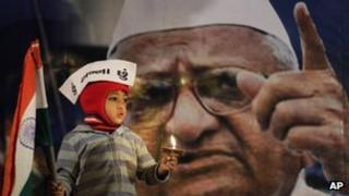 """A young supporter of Indian anti-corruption activist Anna Hazare, depicted in photograph in background, wears a cap that reads """"I am Anna"""" as he hold the Indian flag during a protest against corruption in Ahmadabad, India"""