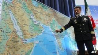 Admiral Habibollah Sayari outlines naval manoeuvres near the Strait of Hormuz