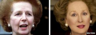 Mrs Thatcher in 1997, left, Meryl Streep portraying her in The Iron Lady