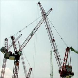 Cranes at construction site