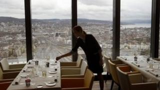 """""""Clouds"""" restaurant at the Prime Tower office building in Zurich"""