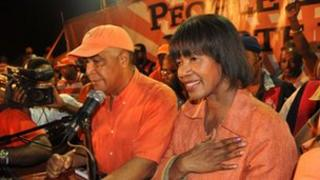 "Portia Simpson Miller (R) addresses supporters of the People""s National Party (PNP) on election night, December 29, 2011 in Kingston"