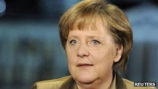 Chancellor Angela Merkel pictured after giving her New Year's address - 31 December 2011
