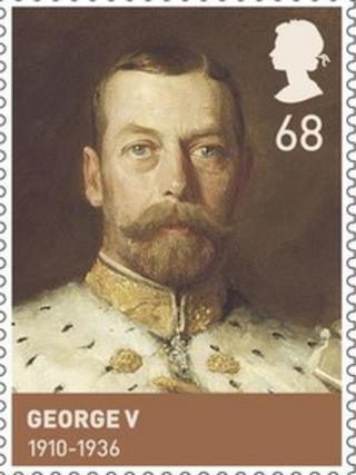 Stamp featuring George V