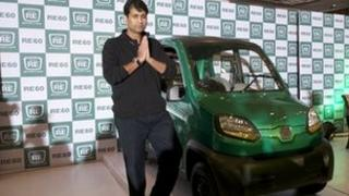 Rajiv Bajaj with RE60 (Photo: Bajaj Auto)