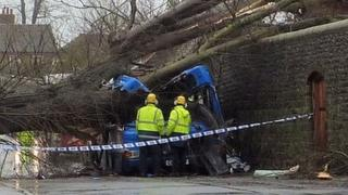 Emergency services at the scene of the crash in Witley, Godalming