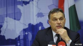 Hungarian Prime Minister Viktor Orban at a news conference in Brussels, 9 December 2011