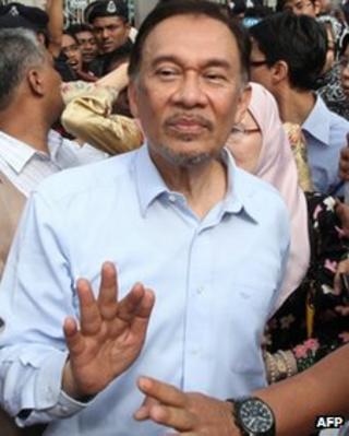 Anwar Ibrahim at court in Kuala Lumpur on 9 January 2012