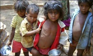 Malnourished children in India