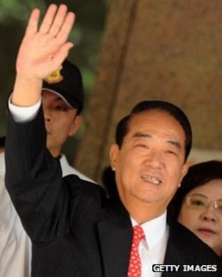James Soong registering as a presidential candidate at the Central Elections Committee in Taipei on November 24, 2011