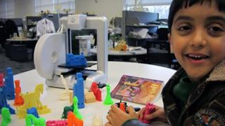 Boy with toys printed from 3D printer