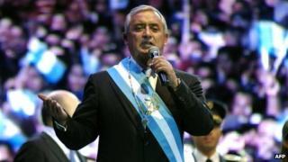 President Otto Perez Molina during his inauguration at El Domo, in Guatemala City, on 14 January 2012