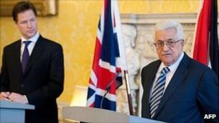 Nick Clegg and Mahmoud Abbas
