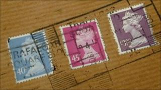 A letter with stamps