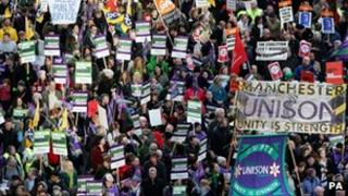 Public sector workers on strike in Manchester on 30 November