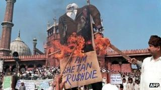 File picture taken on 19 February 1999 Indian Muslims burn an effigy of Indian-born British author Salman Rushdie.