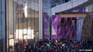 Crowd outside Apple in Beijing