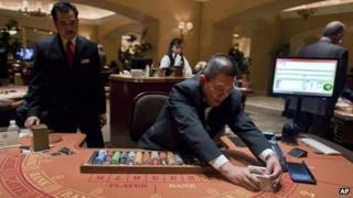 A casino table in Las Vegas