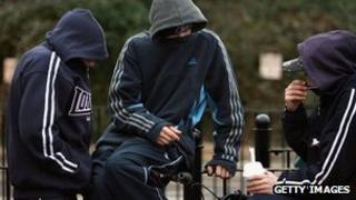 Youths on a housing estate