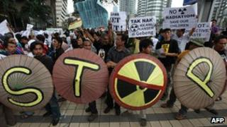 People in Malaysia protesting against Lynas