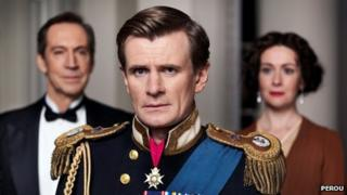 Charles Edwards (centre) with Jonathan Hyde and Emma Fielding in The King's Speech