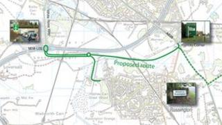 Proposed airport link road plans on a map