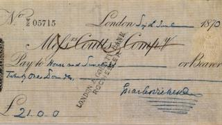A cheque signed by Charles Dickens