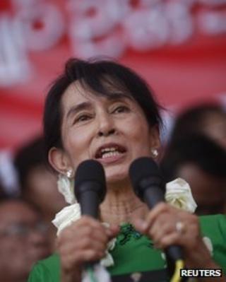 Aung San Suu Kyi in Pathein on 7 February 2012
