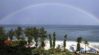 Rainbow over the sea in Saipan, Northern Mariana Islands