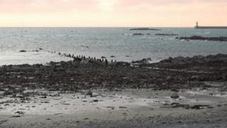 Guernsey's long sea outfall pipe for sewage leading into the Little Russell