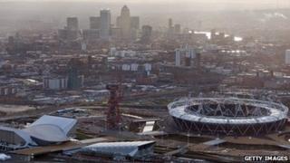 East London skyline including Olympic Park.