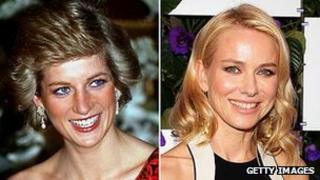 Diana Princess of Wales and Naomi Watts