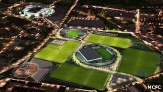 Artist's impression of Manchester City's new training facility at night