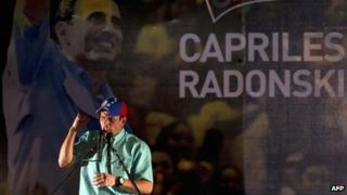 Venezuelan opposition leader Henrique Capriles Radonski speaks after winning the primary elections in Caracas